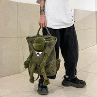 Fashion All-Match Female Bags Trendy Cool Green Frog Bag Canvas Backpack