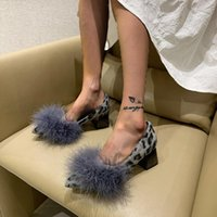 Dress Shoes 2021 Autumn Furry Chunky Designer Mid Heels Women Pointed Toe PU Leather Pumps Fashion Sexy Shallow Lady Sandals