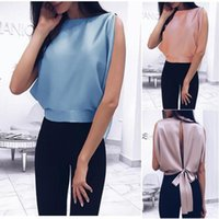 Women's Polos 2021 Summer Ladies Pure Color Sweet Vest Bow Knot Halter Top Bat Shirt Round Neck T Casual