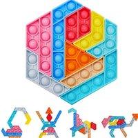 Rainbow Color Push Bubble Poppers Jigsaw Tangram Puzzle Toys Toys Sensory Fidget Pop Burbujas dedo Miembro De Finger Sembertop Padre Niño juego Formas Cambiando G61tsqq