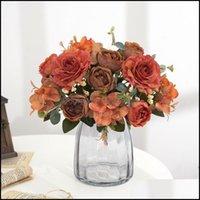 Декоративная праздничная партия поставляет GardenceRative Цветы венки Смешанный цветок Beautif Peony Искусственная гортензия Silk Fake Букет для H