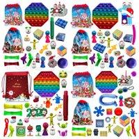 N Stock 24pcs / set Christmas Fidget Toys Advent Bolsa de calendario silicona simple hoyuelo descompresión juguete empuje burbujas navidad bolsas ciegas regalo