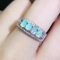Takı başına Küme Yüzükler Doğal Gerçek Beyaz Opal Dizi Yüzük 3 * 4mm 0.16ct * 4 adet Taş 925 Ayar Gümüş İnce Q204221