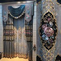 Fyfuyoufy Style européen Flocké Bronzing Jacquard Rideau Salon Chambre à coucher Décoration de mariage Rétro Court Tissu Décoratif