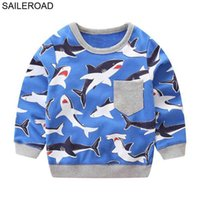 SAILEROAD 2-7Year Animal Shark Child Pullover Sweater Autumn Spring a Little Boys Long Sleeve Shirts for Baby Kids Sweatshirts G0917