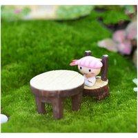2pcs / set tavola rotonda e sedia pianta in vaso pianta ornamento fai da te modello materiale artigianato muschio terrarium micro paesaggio fiera jllgic busta