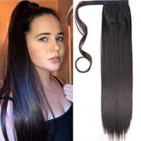 22 дюйма прямой обертки вокруг клипа в хвостике наращивание волос термостойкие синтетические натуральные волнистые пони хвост поддельные волосы