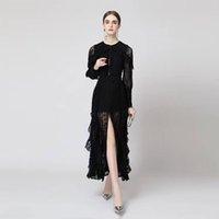 Women's dress 2021 ladies casual fashion long-sleeved wood ear lace fight reception waist temperament dresses