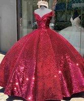 Princess Dark Red Quinceanera Dresses Sequid Off the Shoulder Sweet 16 Prom Gowns Tulle vestidos de 15 años xv Dress Corset