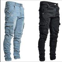 Men's Jeans Cargo Casual Pants Slim Fit Side Pocket Straight Denim Trousers Streetwear Hip Hop Men