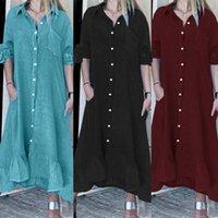 Casual Dresses ZANZEA 2021 Stylish Solid Shirt Dress Women's Summer Ruffle Sundress Short Sleeve Maxi Vestidos Female Bow Robe Oversized