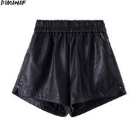 DIMANAF 2021 Artı Boyutu Kadın Kısa Pantolon Yüksek Bel PU Deri Pantolon Slacks Yaz Bayan Katı Boy Ev Moda Etek 4XL 210309