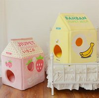 New cat and dog bed winter warm soft pet mat strawberry milk banana milk cat bed cat house removable washable pet nest