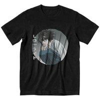 Homens t - shirts Nota da morte camiseta homens manga curta casual camiseta Nome japonês urbano L Lawliet Anime T-shirt de algodão tee tops roupas