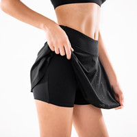 Hohe Taille Yoga Nahtlose Leggings Shorts Frauen Trainingslauf Laufen Gym Sport Doppelschicht Rock Fitness Training Skorts Push Up