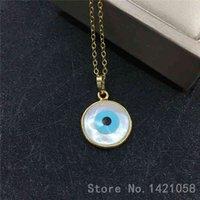 Ganze Kupfer Nekclace Runde weiße natürliche Mutter von Perlmutt Shell Turkish Eye Anhänger Halskette