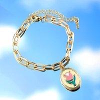 Ссылка, цепь Bynouck 2021 мода браслет эмаль цветок золотой цвет браслетов для женщин тюльпан регулируемый подарок ювелирных изделий