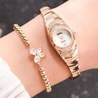2 pçs / set moda mulheres assistir delicado strass prata relógio pulseira para mulheres luxo senhoras relógio de pulso relogio feminino