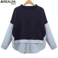 AREALNA Autumn Sweatshirt Frauen Stil Gestreifte Patchwork Navy Pullover Lose Beiläufige Hoodies für Frauen Plus Größe XL- LJ201130