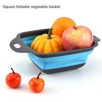 Garrafas de armazenamento frascos Folding drenagem cesta criativa caixa de frutas retrátil portátil cozinha de cozinha de silicone