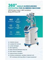 9 in 1 Body Cryo Slimming Super 360 cryotherapy 4 handles working together Cryolipolysis+Cavitation+RF+lipolaser double chin removal wit 5 handle Machine