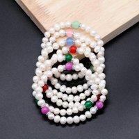 Hecho a mano Tres jade Puertas de Puertas Puertas Blancas Mezclar Piedras y Perlas Pulseras Pulseras Mujeres Regalo Pearl Jewelry PB007
