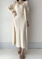Women's Sweaters Blusa de cardig longo elegante b662, vestido malha maxi com gola v para mulheres, outono e inverno VX21