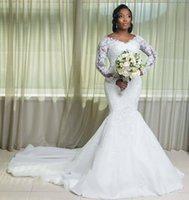 Vintage 2021 Plus Size Mermaid Wedding Dresses Bridal Gowns With Detachable Train V Neck Long Sleeve Lace Appliqued Robe de mariée