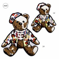 Big Size Towel Embroidery Cartoon Bear Chenille Patch Fabric Custom Sew on Sticker Puppet Anial Patchwork Appliques for Clothing Backpack