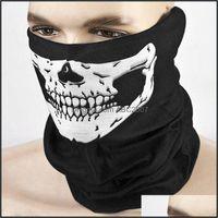 Caps Masks Protective Gear Sports & Outdoorsskeleton Bandana Skl Halloween Half Face Mask Cycling Ghost Clown Scarf Neck Bandanas Ski Sport