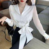 Женские вязаные тройники 2021 весна с длинным рукавом Корейский ол блузки отворотный воротник V-образным вырезом женские урожаи вершины пояса боути рубашки Blusas Muje