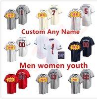 2021 Atlanta Jerseys de béisbol Hombres Mujeres Niños Jóvenes 13 Ronald Acuna JR Freddie Freeman 7 Dansby Swanson 24 Deion Sanders Chipper Jones Jersey