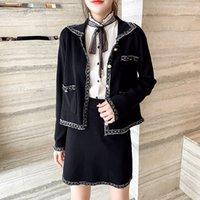 2021 Yeni Sonbahar Kış Giysileri Vintage Zarif Kintted 2 Takım Kadın Ceket Kaban Mini Etek Suit İki Parça Kıyafetler Kırpma Üst Conjuntos R6TF