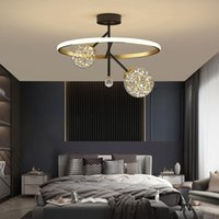 Chandeliers Modern LED Ceiling Chandelier For Living Room Study Bedroom Balcony Kitchen Round Glass Lampshade Home Fixtures
