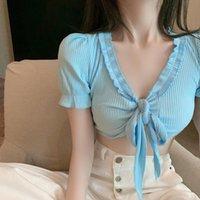 Women's T-Shirt WLLWLP Summer Open Navel Bandage For Women Fashion Short Sleeve Edible Tree V-neck Tops A815