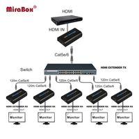 الكابلات الصوتية موصلات HSV373 1080P عبر IP Splitter Extender 1 × 5 Cat5 / Cat5e / Cat6 UTP / STP مع المرسل والأجهزة الاستقبال
