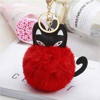 Keychains Car Keyring Snow Fur Key Holder Ball Chain Black Cat Head Doll Keychain Animal Pompom Pendant Charm Jewelry