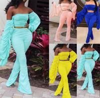Mujeres apilados diseñadores de dos piezas con estampado sexy de moda para mujer de manga larga pantalones tripulantes para mujer ropa ropa