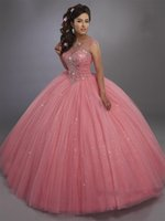 Ball Gown Quinceanera Dresses with Rhinestone Capped Sleeves Stunning Tulle Sweet 16 Prom Vestidos Lace Up Back Bride Special Banquet Dress