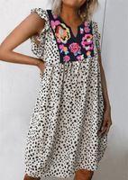 2021 sommer heißer verkauf böhmischen kleid frauen leopard lose kleid lässig weibliche blumen drucken v-ausschnitt kleider strand boho robe weiblich