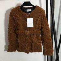 Winter cc women designer clothes mohair jacket coat waist belt waist lamb wool coat ladies clothes super warm female tops two colors S-L wholesale