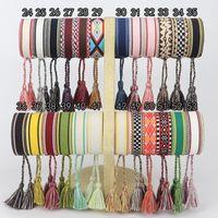 Винтаж ручной работы кисточка вышивка вышивка очарование браслет сплетенные широкие плетеные браслеты для женщин подарки дружба Bohemia ювелирные изделия