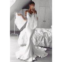 Stunning satin Mermaid Beach Wedding Dresses spaghetti strap V-neck Juliet Long Sleeve Bohemian Bridal Gowns robe de mariage