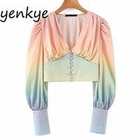 Camicia a camicetta Multicolore Blusa Donne Lantern Sleeve V Collo Streetwear Crop Top Chemise Femme Summer Chiffon Camicette Blusas 210406