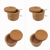 Sujetador de madera Pot Bambú Spice Shaker Azúcar Sal Pimienta Hierbas Botella de almacenamiento Spice Jar Cocina GGD4890-1