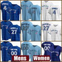 2021 Торонто Новый Blue Jays Bayball Jersey Custom 27 Владимир Герреро-младший Мужской 4 Джордж Спрингер Женщины 11 Джордж Белл 6 Маркус Stroman