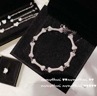 Earrings & Necklace Puppy Bone Punk Hip Hop Flash Rhinestone Luxury Silver-color Banquet Exaggerated Cool Sweet Girls Choker