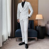 Men's Suits & Blazers 2Pieces British Style Fashion Belt Design Suit Men Clothing Simple Back Mid Spilt Slim Fit Casual Wedding Dress Jacket