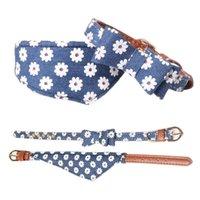 الأزرق الكلب طوق الحيوانات الأليفة القط bib باندانا زهرة الرقبة حزام جلد الدنيم bowknot لصغيرة الوسطى تيدي تشيهواهوا سبيتز
