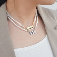 Angel Number Necklaces 111 222 333 444 Imitation Pearl Neckcklace Choker 555 777 888 999 666 Stainless Steel Minimalist Jewelry